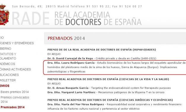 """UNA TESIS DOCTORAL DE LA UBU SOBRE LOS HUMANOS FÓSILES DE  ATAPUERCA """"PREMIO DE INVESTIGACIÓN DE LA REAL ACADEMIA DE DOCTORES DE ESPAÑA"""" EN EL ÁREA DE HUMANIDADES"""