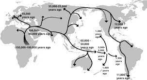 Migraciones humanas fuera de África, propuesta de Saitou Naruya (Fuente:Wikipedia)