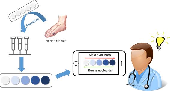 Figura 5. Resumen gráfico del polímero sensor orientado al tratamiento de heridas crónicas.